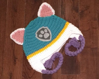 Everest Paw Patrol Crochet Character Hats, Dog Hat, Made to Order, Cartoon Outfit, Newborn Baby Child Adult, Photography Prop