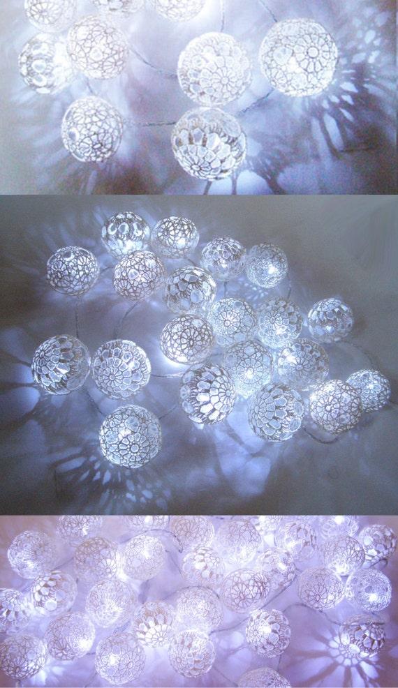 string lights fairy lights christmas lights bedroom lighting party lighting 20 white lace crochet balls night lights garland lights