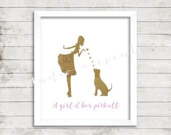 Gold glitter pet print-Pitbull-girl-girl & her pitbull-DIGITAL PRINT-PRINTABLE