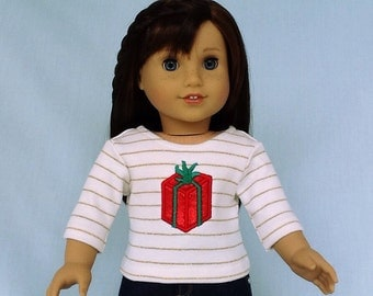 Gift Wrapped Present T Shirt for American Girl/18 Inch Doll