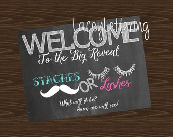 Staches or Lashes Gender Reveal Welcome Sign