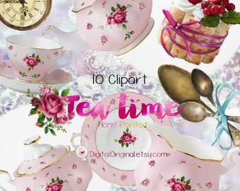 Hand painted cliparts / Tea time /  High Quality 300ppi / Big size / PNG.