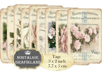 French Roses Vintage Papers Instant Download printable digital collage sheet T108