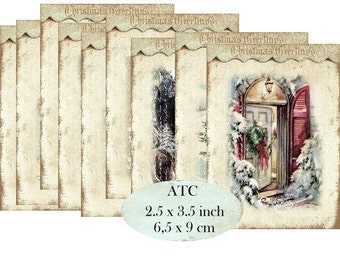 Christmas Greetings Labels Sheets Instant Download ATC digital collage sheet S096 santa claus children x-mas
