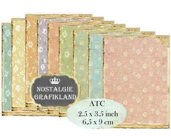 Shabby Chic Background Flowers Fleurs Pastel ATC Instant Download digital collage sheet S120 Aceo mini flowers