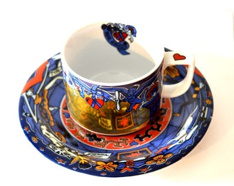 Swiss Teacup Set / Bopla of Switzerland Sammeltasse Sailor's Heart Tattoo Design / Cupid Design in Gold Blue and Red Coffee Cup Saucer Set