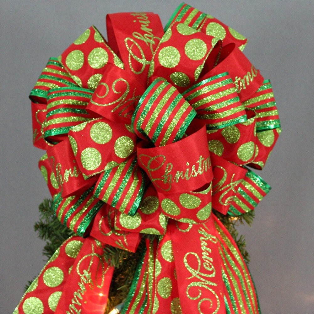 Christmas Tree Merry Christmas: Merry Christmas Sparkle Dot Stripe Christmas Tree Bow