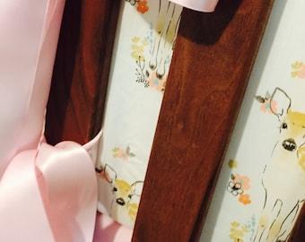 Crib bedding SET, woodland critters, deer, fawn, modern, floral, fitted crib sheet, crib skirt, bumper, baby blanket