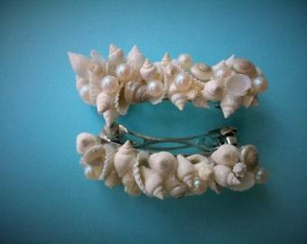 White Seashell & Pearl Hair Clip Set
