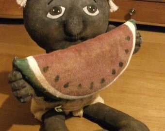 Primitive Black Folk Art Doll - Watermelon Baby Tuck