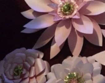 Pink paper flower trio with gold centers