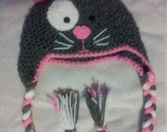 Kitty cat hat with earflaps and braids