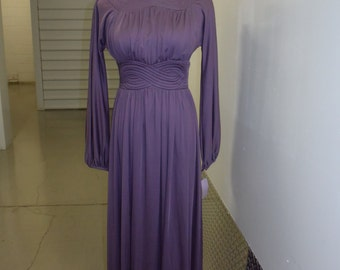 Vintage 70s High Neck Deep Rose Gown