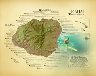 Kauai Surf Break Map [11 x 14] - vintage inspired Hawaiian art print