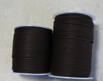 1.5mm nappa dark brown leather cord- 25 meters / 81.25 feet,