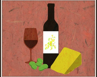 Wine Grapes Cheese Textured Print from Digital Art