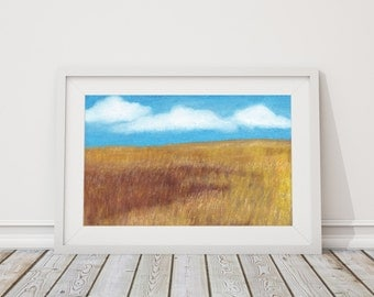 Wide as the Prairie Print from Pastel Drawing