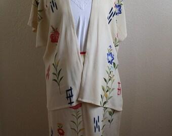 Japanese Flower Print Top & Skirt Set