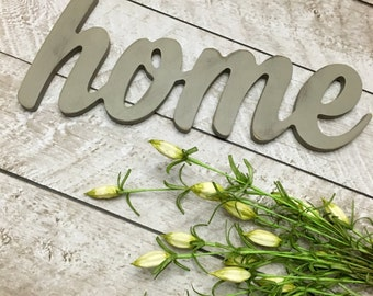 Home Wood Word, Painted Wood Letters, Wood Word, Wood Word Art, Wood Wall Art, Wood Sign, Yellow Decor, Home Sweet Home