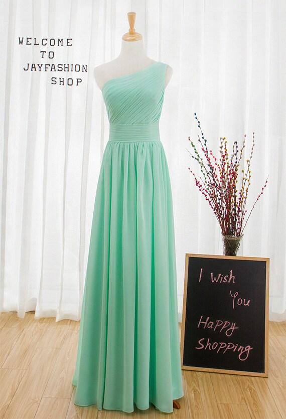 One shoulder Mint Green prom dress,Sexy long evening dress,Cheap homecoming dress,Chiffon party dress,Bridesmaid dress