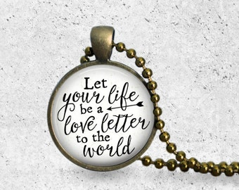 Love Letters, Love Necklace, Love Pendant, Let Your Life Be A Love Letter, Love Jewelry, Envelope Jewelry, Envelope Necklace, Envelope Love
