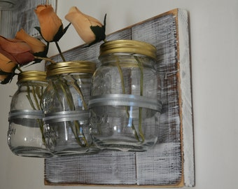 Mason Jar Wall Decor Farmhouse Decor Country Shabby Chic Decor Wall Hanging