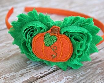 Pumpkin headband - fall headband - satin lined headband - girls headband - pumpkin picking headband - harvest headband - green and orange