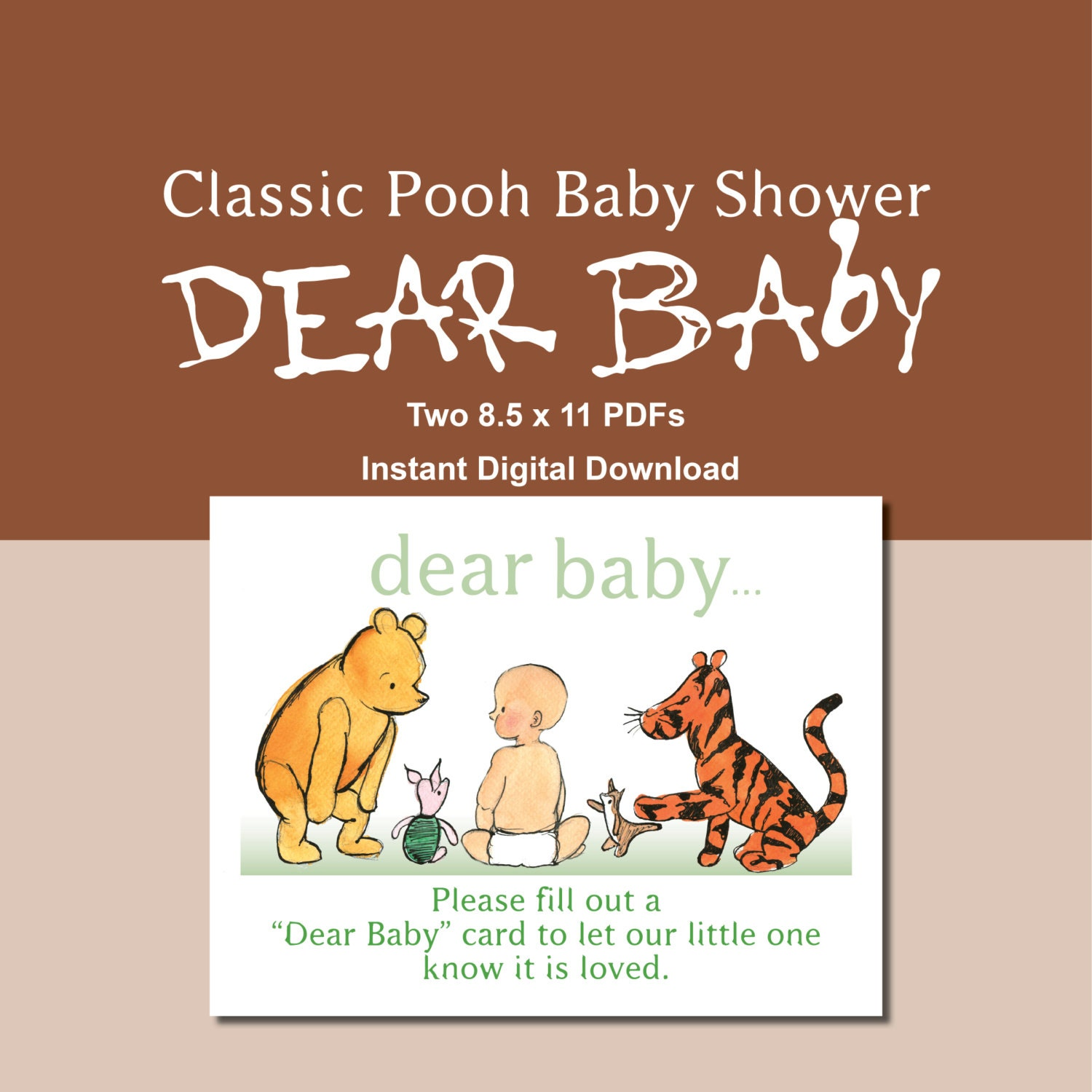 classic pooh baby shower dear baby cards