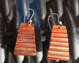 Urban Love, Corrugated Torch Fired Patina Copper Earrings with Sterling Silver Earring Findings