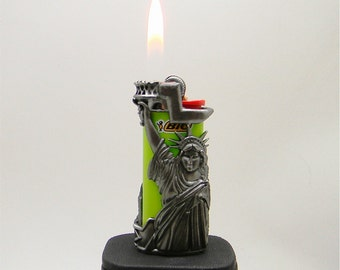 Vintage Statue of Liberty WTC mini bic lighter cover