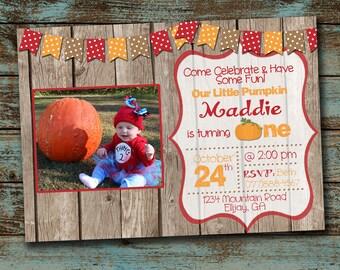 Fall Birthday Invitation - Pumpkin Birthday Invitation - Photo Invitaiton - Printable Invitation - Digital File DIY