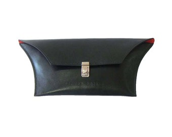 Funky Black Clutch Bag with Red Lining - Luxury Black Leather Clutch Purse - Small Black Purse