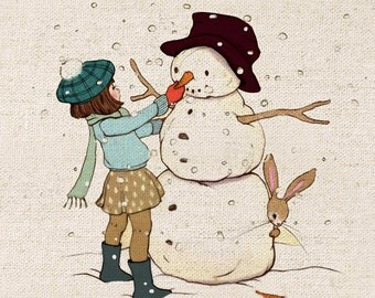 Cute Snowman Building Handprinted Linen Cotton Fabric Piece, 20 x 20cm / 8'' x 8''