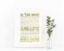 In this house we do Harry Potter, PRINTABLE, Happiness can be found in the darkest of times, Dumbledore's Army, Deathly Hallows decor print