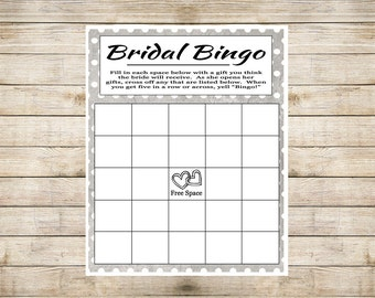 Gray Bridal Bingo - Printable Wedding Shower Bingo Game- Bridal Shower Game - Wedding Bingo
