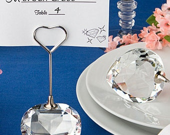Round or Heart Crystal Place Card Holder