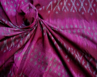 Handwoven Mudmee 100% Cotton from Thailand. Raspberry 1.8 metres/ 2 yards