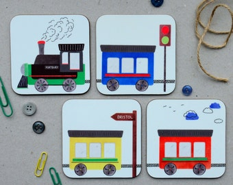 Train Coasters Set of 4