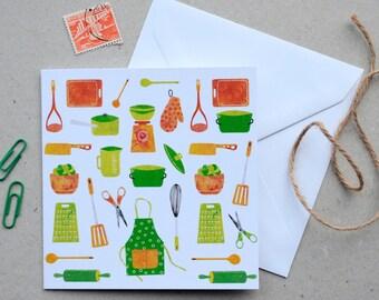 Kitchen Utensils Greetings Card