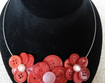 Vintage upcycled flower button necklace.