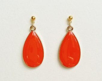 Teardrop Earrings, Bright Orange Teardrop Earrings, Orange Earrings, Hypoallergenic, Bridesmaid, Resin Jewelry