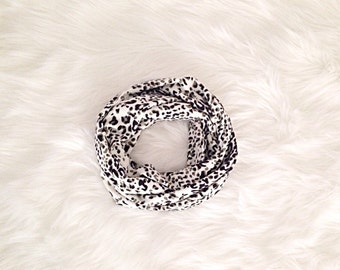 SALE! Baby Toddler Child Infinity Scarf - Black, White, & Sage Snow Leopard Cheetah - READY to SHIP