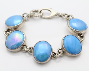 """Bold Artisan Sterling Silver and Blue Pearlized Cabochon Statement Bracelet 7.5"""". [5498]"""