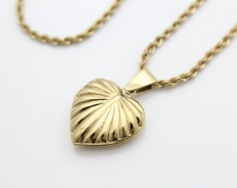 "Gold on Sterling Silver Heart Locket Pendant Necklace w Rope Chain 20"". [6242]"