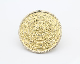 Sterling Silver Gold Plated Mayan Sun Calendar Brooch. [6421]