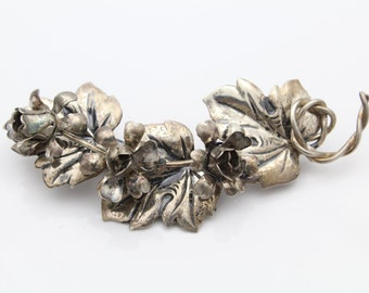 Vintage Coro Sterling Silver 3-D Ivy and Flower Brooch. [6573]