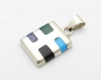 Gemstone Square Pendant Southwest STERLING SILVER Contemporary CHUNKY 12g. [7174]
