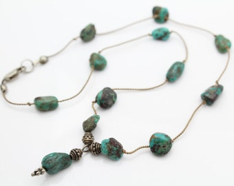 """Hand-Strung Necklace of Natural Turquoise Nuggets and Sterling Silver 16"""". [7468]"""