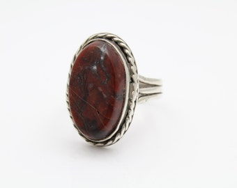 Southwestern Sterling Silver Oxblood Red Jasper Oval Ring Sz 12. [8212]