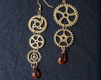 Steampunk Earrings Bronze Gear Earring